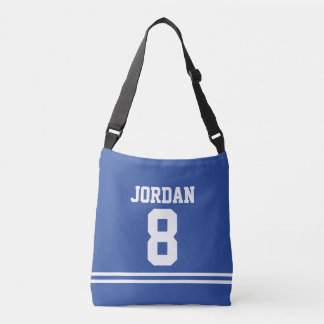 Blue Football Jersey with Custom Name and Number Crossbody Bag