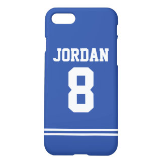 Blue Football Jersey with Number iPhone 7 Case