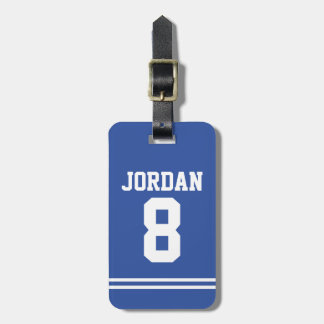 Blue Football Jersey with Number Luggage Tag