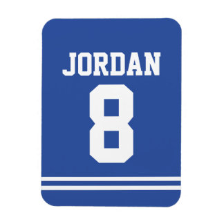 Blue Football Jersey with Number Rectangular Photo Magnet