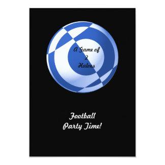 Blue Football Party (add photo, change size) 13 Cm X 18 Cm Invitation Card
