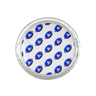 Blue Football Pattern Ring