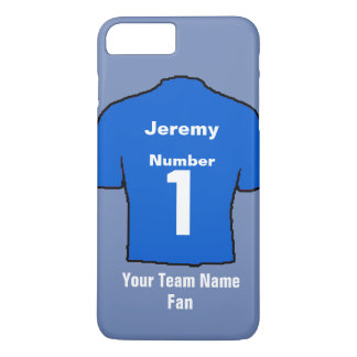 Blue Football Shirt Choose name and team iPhone 8 Plus/7 Plus Case