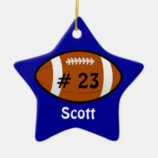 Blue Football Star Ornament