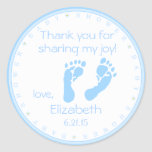 Blue Footprints Boy Baby Shower Round Sticker