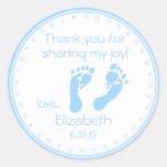 Blue Footprints Boy Baby Shower Thank You Round Sticker