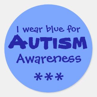 Blue for Autism Round Sticker
