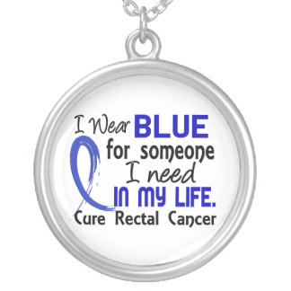 Blue For Someone I Need Rectal Cancer Round Pendant Necklace