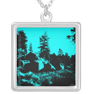 Blue Forest Square Pendant Necklace