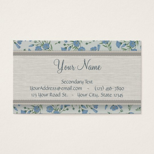 Blue Forget-Me-Not Floral and Marble with Monogram Business Card