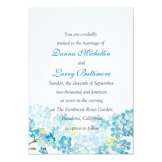 Blue Forget Me Not's Wedding Invitation