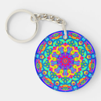 Blue Fountain Double-Sided Round Acrylic Key Ring