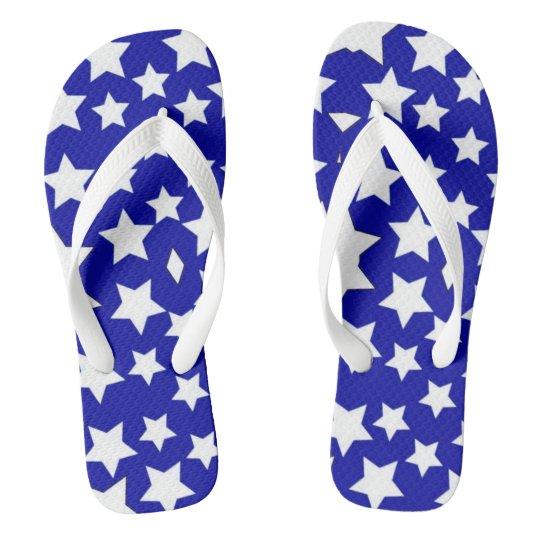 blue fourth of july star unisex flip flops