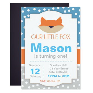 Blue Fox Birthday Invitation