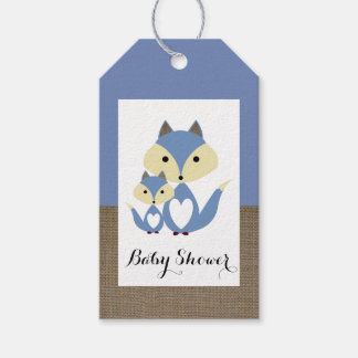 Blue Fox Burlap Baby Shower Gift Tags
