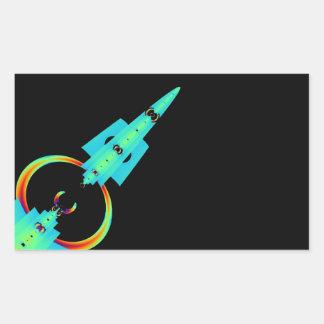 Blue Fractal Art Rocket Rectangular Sticker