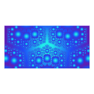 Blue Fractal Explosions: Personalized Photo Card