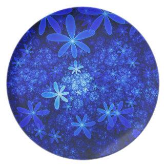Blue Fractal Flowers Melamine Plate