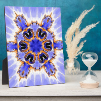 Blue Fractal Kaleidoscope Plaque