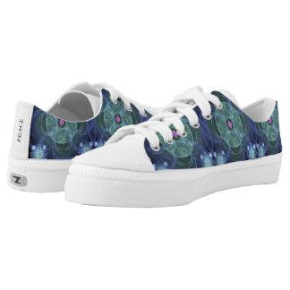 Blue Fractal Patchwork Pattern Canvas Shoes