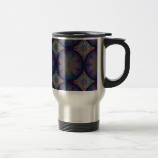 Blue Fractal Pattern Large Travel Mug