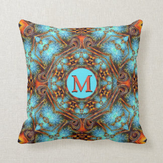 Blue Fractal Rust Peacock Monogram Pillow