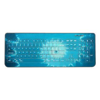 Blue Fractal seahorse shape Wireless Keyboard