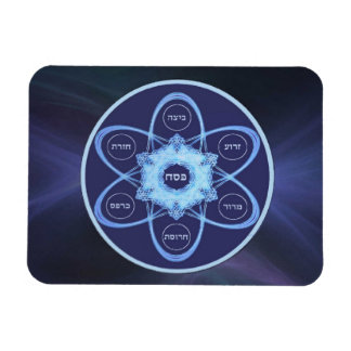 Blue Fractal Seder Plate Rectangular Photo Magnet