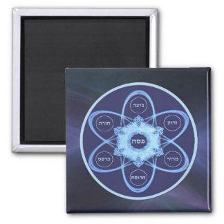 Blue Fractal Seder Plate Square Magnet