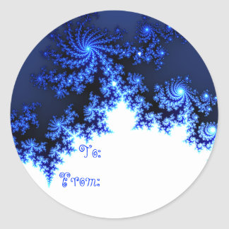 Blue Fractal Snowflake Gift Tag Round Sticker