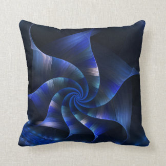 blue fractal spiral cushion