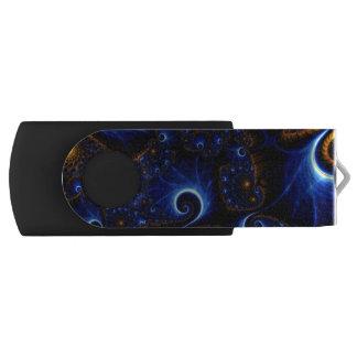 Blue fractal USB Swivel USB 3.0 Flash Drive