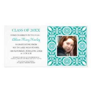 Blue Frame - Photo Graduation Party Invites Photo Card