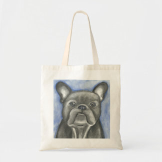 Blue French Bulldog attitude tote