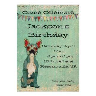 Blue French Bulldog Birthday Invitation