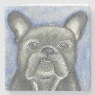 Blue French Bulldog marble stone coaster