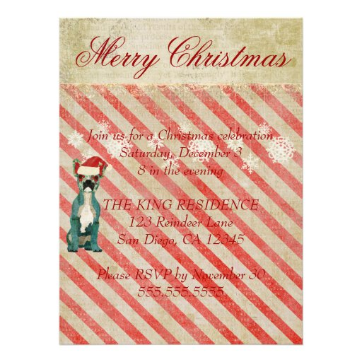 Blue French Bulldogs Candy Cane Holiday Invitation