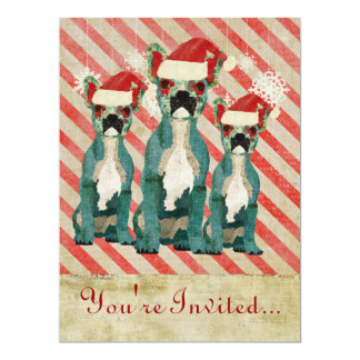 "Blue French Bulldogs Candy Cane Holiday Invitation 6.5"" X 8.75"" Invitation Card"