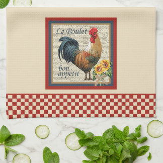 Blue French Country Kitchen Rooster Towel