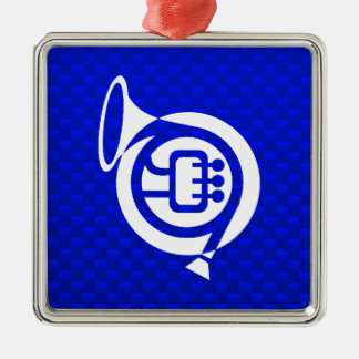 Blue French Horn Christmas Ornament