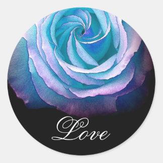 BLUE Frilly Rose - Wedding Envelope Seal Round Sticker