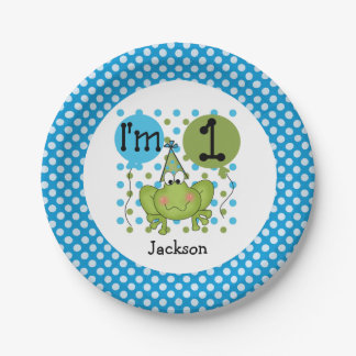 Blue Frog 1st Birthday Paper Plates 7 Inch Paper Plate
