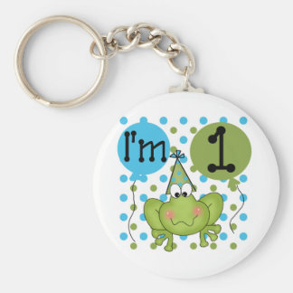 Blue Frog 1st Birthday Tshirts and Gifts Basic Round Button Key Ring
