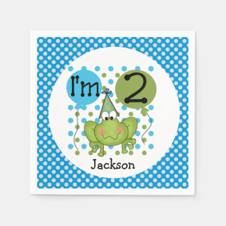 Blue Frog 2nd Birthday Paper Napkins