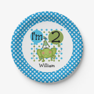 Blue Frog 2nd Birthday Paper Plates 7 Inch Paper Plate