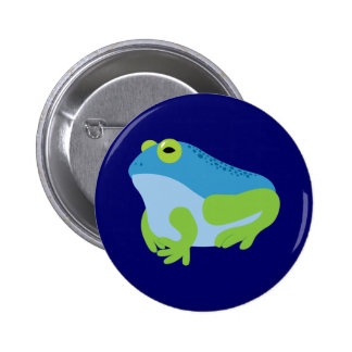 Blue Frog 6 Cm Round Badge