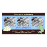 Blue Frog and Lotus Birth Announcement Photo Cards