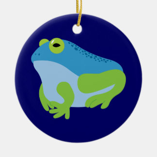 Blue Frog Double-Sided Ceramic Round Christmas Ornament
