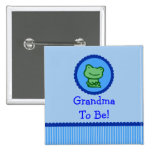 "Blue Frog ""Grandma To Be"" Baby Shower Button"