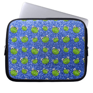 Blue frog head glitter pattern laptop sleeve